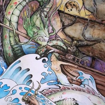 Midgard Serpent. Painting / Water colors & ink