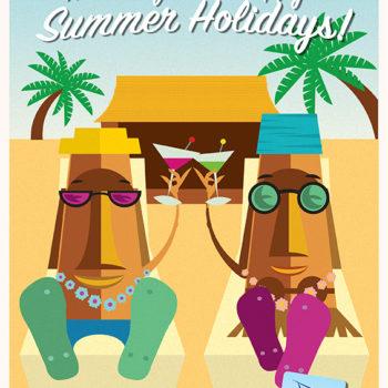 Tiki summer greeting card. Digital illustration / Adobe Illustrator