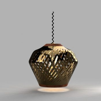 Bronze lamp shade with bulb